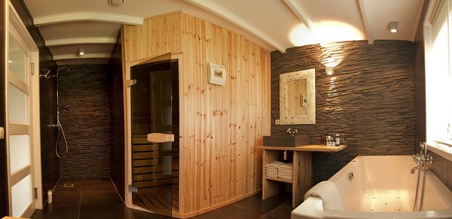 Sauna avec douche et bain.