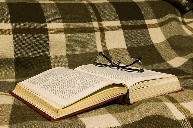 Bouquin posé sur couverture à carreaux avec paire de lunettes.
