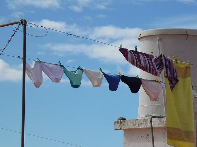 Sous-vêtement mis à sécher sur un étendoir.